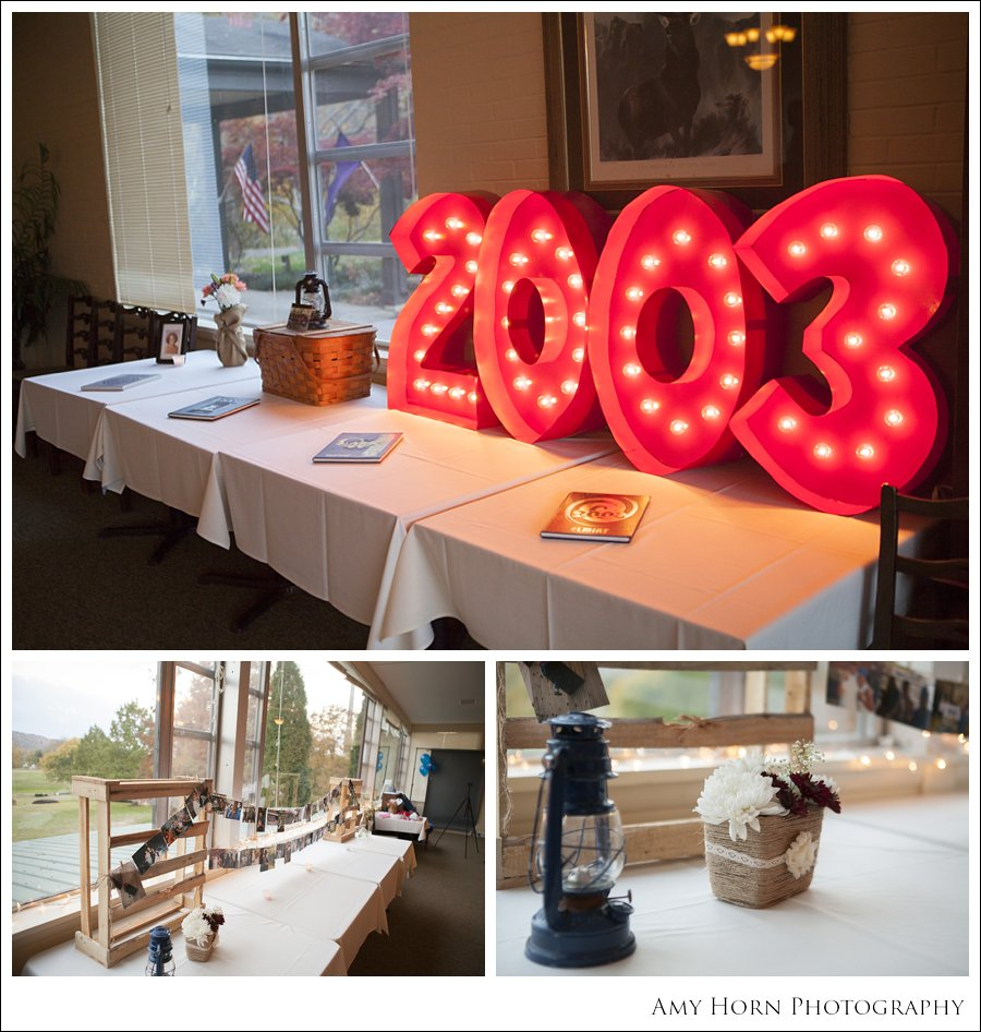 10 year high school reunion, reception decorations, diy reception decorating, amy horn photography, vintage decorating, country decorations,